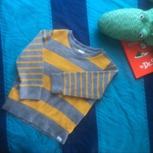 Boys Baby GAP 3T Mustard and Gray Striped Sweater
